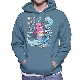 Care Bears Unlock The Magic Cheer Bear Mermazing Dolphins Men's Hooded Sweatshirt