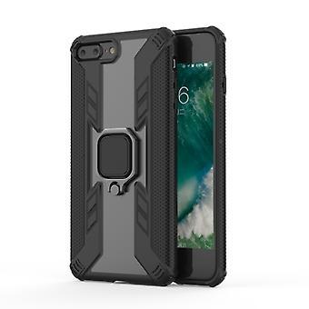 Iron Warrior stötsäker TPU + PC skyddsfodral för iPhone 7 Plus, med 360 graders rotationshållare(svart)