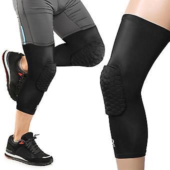 Sechser Knie Pad Kompression Single Leg Support Protector Sleeve - schwarz