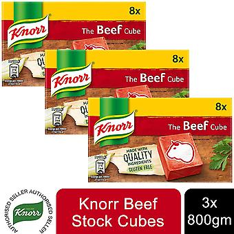 3x8s Beef Knorr Stock cubes 80g, Glutenvrij