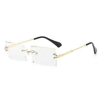 Moda Popular Rimless Retângulo Óculos de Sol, Óculos de Liga/homens