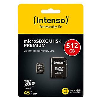Micro SD Memory Card with Adaptor INTENSO 3423493 512 GB 45 MB/s