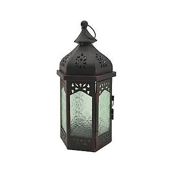 Rebecca mueble linterna decorativo negro verde vidrio metal balcón 32x16x14