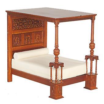 Dolls House Great Bed Of Ware Jbm Miniatuur Walnut Tudor Slaapkamer Meubilair