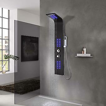 Shower panel aluminium 20 x 44 x 130 cm Black