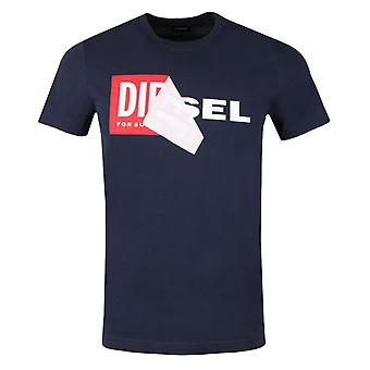 Diesel T-Diego-QA Peel Logo Navy T-Shirt