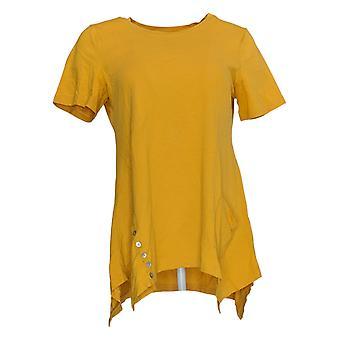 LOGO Par Lori Goldstein Women's Top Cotton Modal Knit Button Jaune A301072