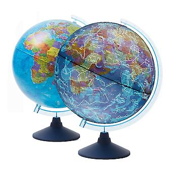 Exerz 21cm illuminated ar globe with cable free led lighting day and night – political map/constel