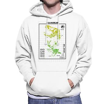 Jurassic Park Isla Nublar T Rex Map Men's Hooded Sweatshirt