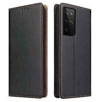 Pour Samsung Galaxy S21 Ultra Case Leather Flip Wallet Folio Cover Black