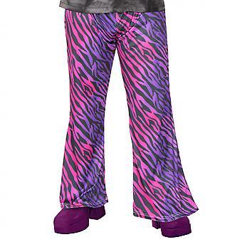 Verkleedbroek Zebra Heren Nylon Roze 36/38