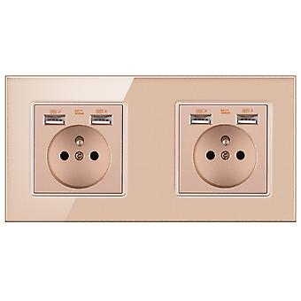 Eu Two-slot Glass Panel Without Pin Power Socket 16a With 4 Usb