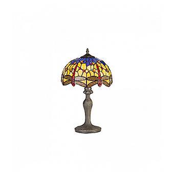 Lámpara De Mesa Tiffany Clio 1 Bombilla Naranja / Azul 78 Cm