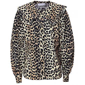 Ganni Leopard Print Cotton Poplin Shirt