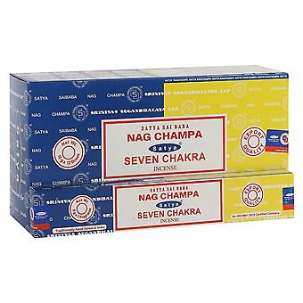 Satya Nag Champa and Seven Chakra Incense Sticks (Pack of 120)