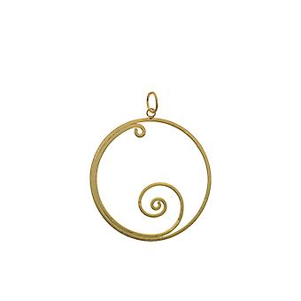 Sterling Silver Pendant Necklace - Origins Circle + Wave + Gold Plated