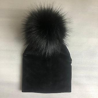 Höst vinter barn solid sammet hatt med pompon