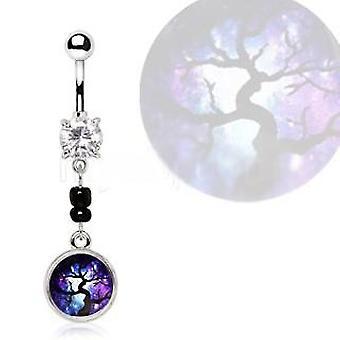 316l Nerezová oceľ Magický strom prívesok Dangle pupok krúžok