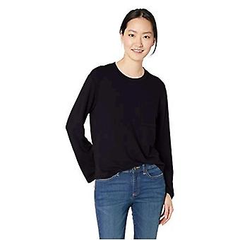 Daily Ritual Women's Supersoft Terry Long-Sleeve Boxy Pocket Tee, White-Black Skinny Stripe, X-Small