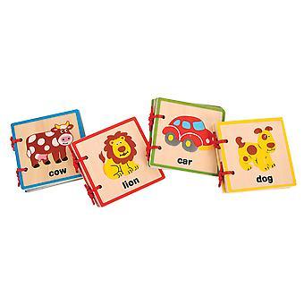 Bigjigs Toys Wooden Baby Books (Pack of 4) Educational Infant Development