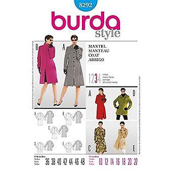 Burda Coudre modèle 8292 Manque tailles de manteau 10-22 Euro 36-48