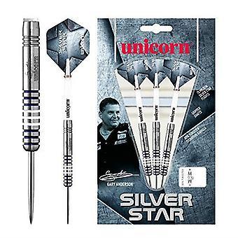 Unicorn Darts Silver Star Gary Anderson 80% Tungsten Precision Steel Tip Set