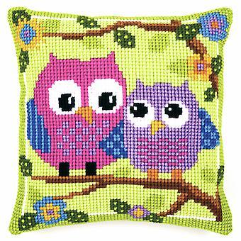 Vervaco Cross Stitch Kit: Coussin: Hiboux