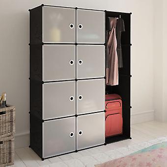 vidaXL Armoire modulaire avec 9 compartiments 37×115×150 cm noir et blanc
