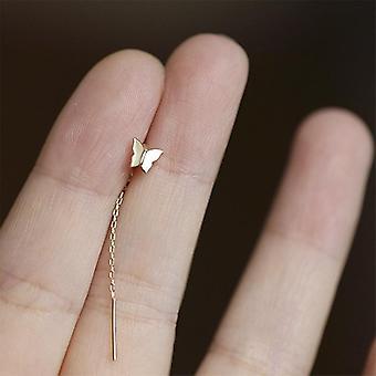 Long Tassel Butterfly Drop Earrings Silver Hanging Women Earrings