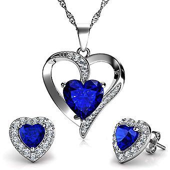 FengChun Schmuckset mit Halskette und Herz-Ohrringen, 925er Sterlingsilber, blau Kristall-Ohrstecker