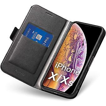 FengChun Hülle iPhone X, iPhone XS Schutzhülle mit Kartenfach und Ständer, iPhone X Tasche Leder,