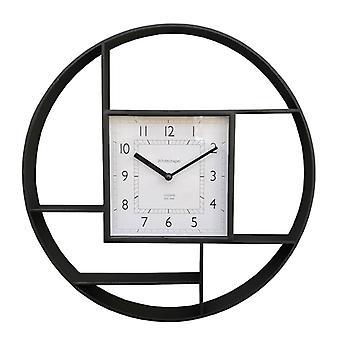 Unità ripiano sospeso a parete in plastica nera con orologio