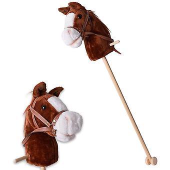 Steckenpferd Sound Kinder Hobby Horse Holzpferd Spielpferd Stockpferd Holz Stock Rollen 96 cm Braun