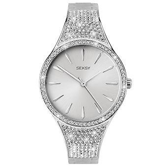 Seksy 2668 Stone Set White & Silver Alloy Bracelet Ladies Watch