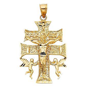 14k Amarelo Ouro Religioso Cruz de Caravaca Colar pendente 27x37mm Presentes de Joias para Mulheres