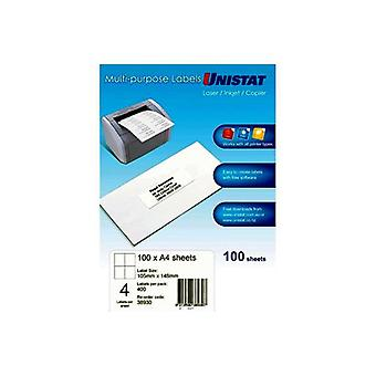 Unistat Lip Label 4Up 105 By 148 Box Of 100