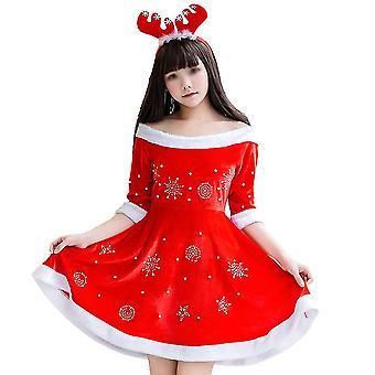 Party Kostüm Weihnachten Hut und Kleid Set kreative Bühne Show Kostüm Mädchen Weihnachten Performance Kostüm für Frauen Mädchen (Kleid und Hut)