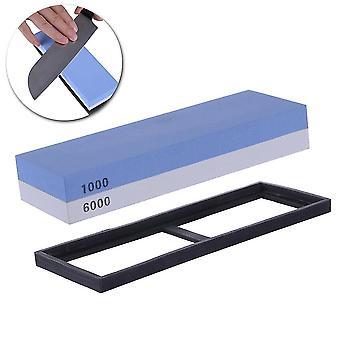 プロの砥石デュアルサイド1000/6000グリットコンビネーションシャープナー研ぎウォーターストーン(青と白)