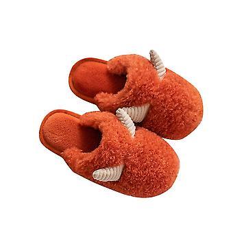 Orange 38-39 horn-shaped cute home warm plush couple slippers-female homi3951