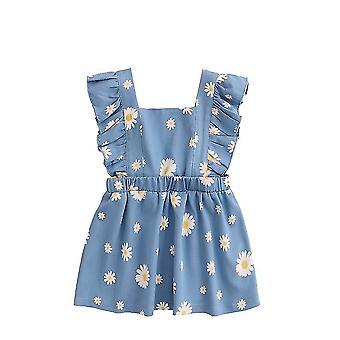 ילדות קטנות הנסיכה שמלות ללא שרוולים ג'ינס צמרות Sundress חצאיות פרחוניות(80CM)