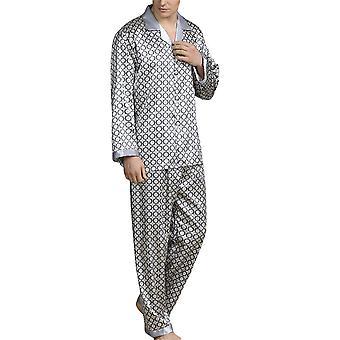 YANGAN Herren 2 Stück Langer Pyjama Set, Bequemes Muster Print Nachtwäsche, Nachtwäsche oben und unten