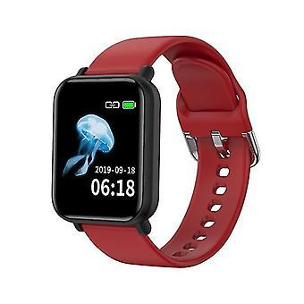 R16 Bluetooth לחץ דם עגול שעון חכם, גשש ספורט עמיד למים (אדום)