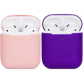 2pcs Airpods Case Soft Silicone Shockproof Non-slip For Apple Airpods 2&1