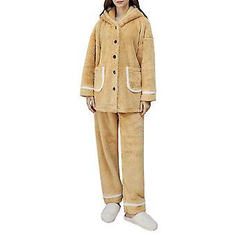 YANGFAN Womens Pajamas Set Long Sleeve Fleece Sleepwear Top Bottom