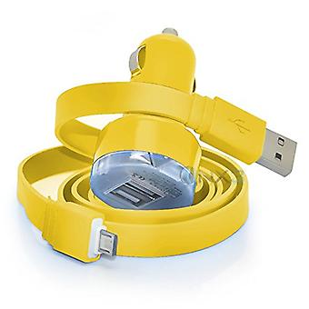 LG K8 (2017) Amarelo no carro Dual Port 2.1 Amp Mini Bullet USB Charger Adaptador, incluindo 1 cabo de carregamento Micro USB