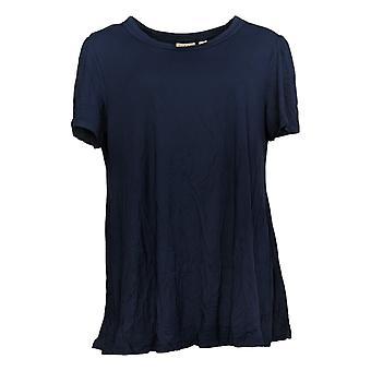 LOGO par Lori Goldstein Women's Top Swing Top w / Shirred Sleeve Blue A302436