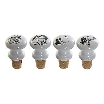 Airtight Bottle Sealer DKD Home Decor White Black Ceramic (4 pcs) (4 x 6 x 4 cm)