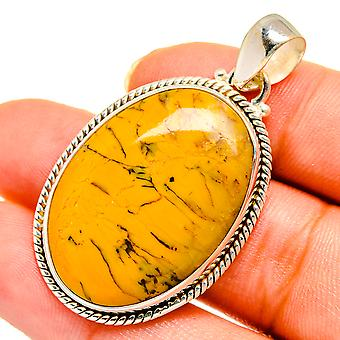 "Brecciated Mookaite Pendant 1 1/2"" (925 Sterling Silver)  - Handmade Boho Vintage Jewelry PD10637"