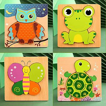4pcs Wooden Animal Jigsaw Puzzle For Toddlers 1 2 3 Years Boys Girls Educational Toy Set- Multicolor