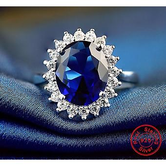 Rings Sterling Silver For Women Party Wedding 10mm Blue Zircon Rings Fashion Charm Rings
